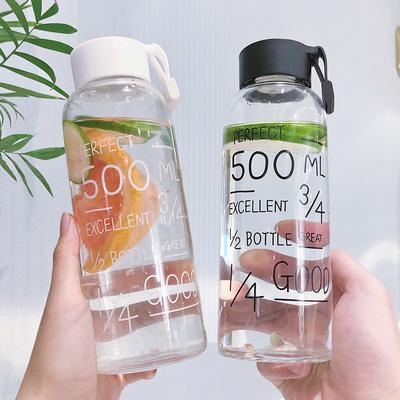 韩版玻璃杯创意潮流水杯可爱女学生便携带盖简约情侣水瓶随手杯子