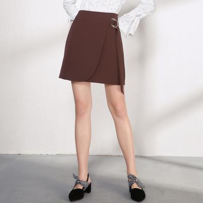 百图 2018春装新款高腰短裙修身不规则a字裙女半身裙1801T52