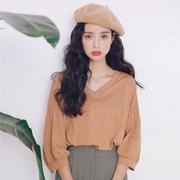 泡泡袖v领T恤女学生韩版2018新款秋装宽松甜美女装小清新长袖上衣