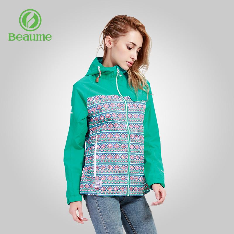 Beaume北客宝美户外薄款冲锋衣女防风透气印花单冲外套61002