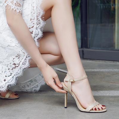 高跟凉鞋女2019新款一字后空扣带金银色仙女性感百搭露趾细跟女鞋