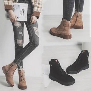 2018新款短靴大码女靴41秋冬季瘦瘦马丁靴女英伦风40平底43女鞋胖