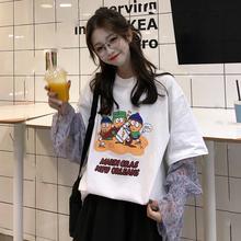 宽松印花假两件拼接长袖 上衣 T恤女打底衫 韩版 夏季2019新款 中长款图片