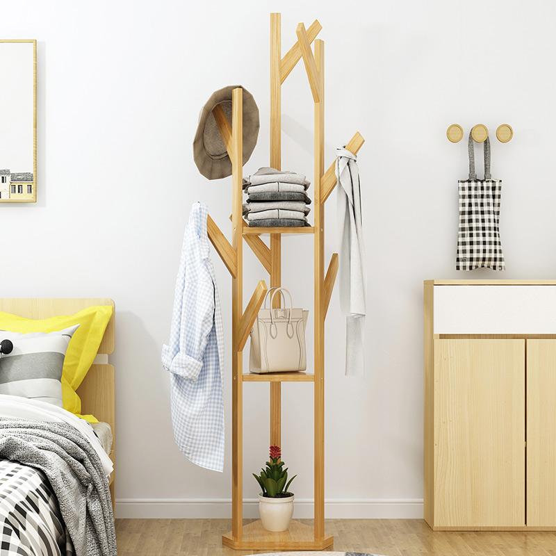 简易衣帽架实木卧室挂衣架落地简约现代衣服架子客厅整理架收纳架