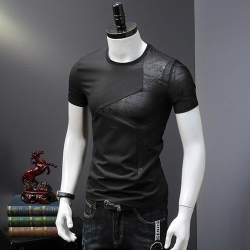 欧洲站夏季不规则矩形拼接透气打底舒适夏新品男士休闲短袖T恤衫