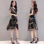 韩版圆领大码雪纺长裙