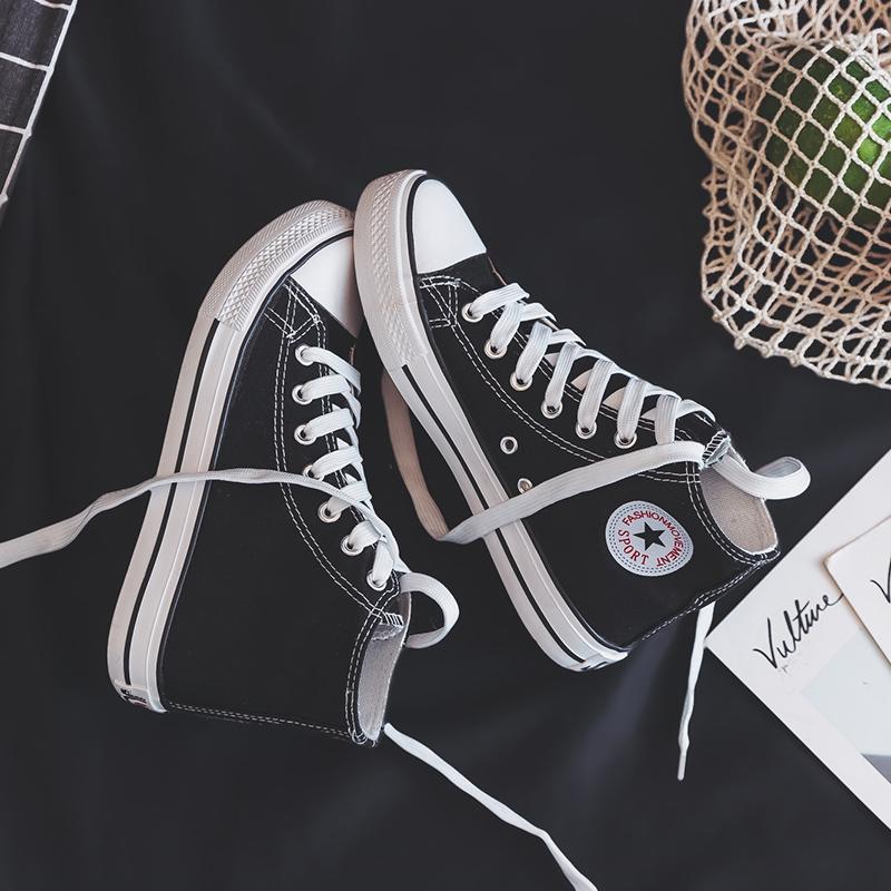 春款新款高帮帆布女鞋2019春季学生百搭韩版布鞋夏季潮鞋小白板鞋