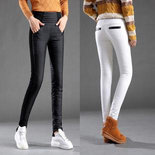 品牌女士加绒加厚保暖羽绒裤高腰棉裤小脚铅笔裤靴裤御寒显瘦大牌
