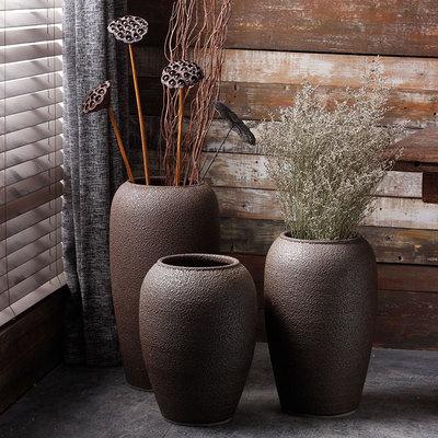 简约陶瓷落地花瓶现代插花客厅摆件景德镇粗陶干花花器日式陶罐