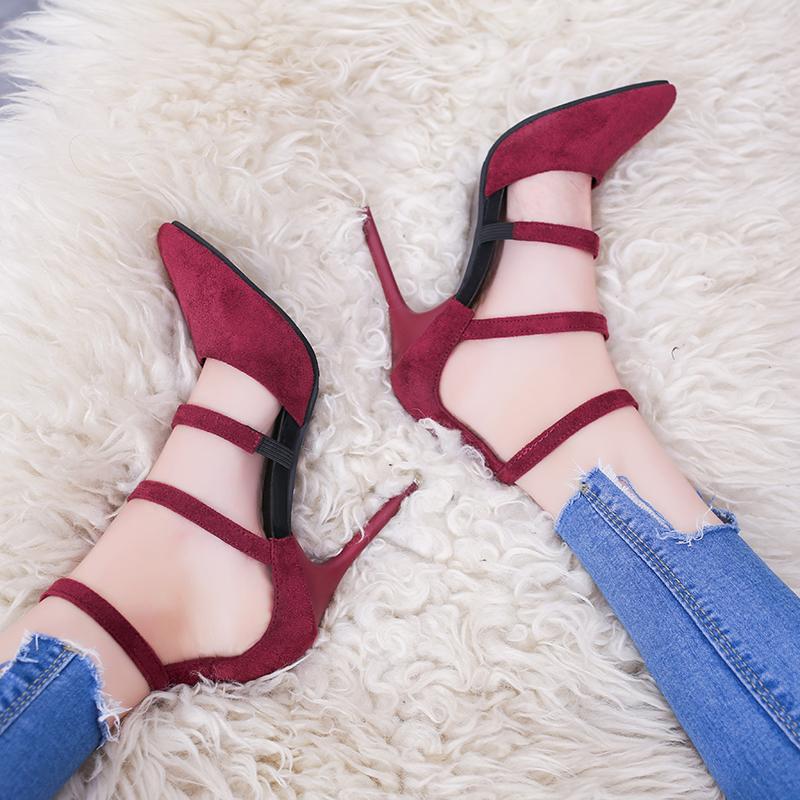 绑脚尖头高跟鞋