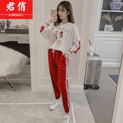 少女韩版初中高中学生运动服套装2018秋季新款宽松卫衣两件套女冬