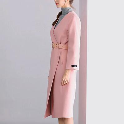 双面羊毛大衣女中长款2018新款韩版过膝系腰带毛呢V领零羊绒外套