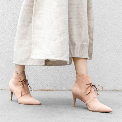 2018秋冬季单靴欧美磨砂羊皮女靴尖头绑带短靴细跟高跟真皮马丁靴