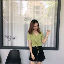 大码女装2019夏季新款小心机抽绳系带上衣褶皱宽松短袖T恤胖妹妹