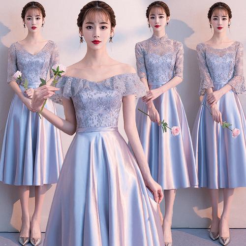 伴娘礼服女2018新款韩版闺蜜伴娘服姐妹团结婚灰色伴娘裙子中长款