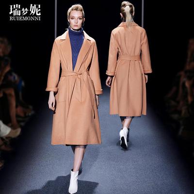 欧洲站秋冬新款2018直筒纯羊毛呢子大衣女长款气质名媛双面呢外套