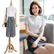 白色职业衬衫女短袖夏2018新款韩版小领衬衣工作服修身正装棉OL半