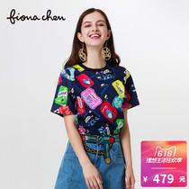 fiona chen/斐娜晨夏季新款撞色时尚趣味印花圆领短袖宽松T恤女