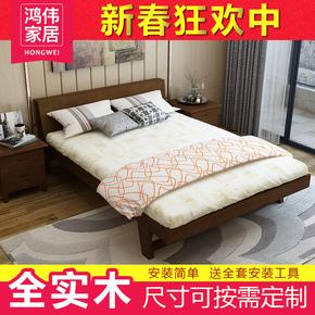 实木床1.8米现代简约双人床北欧纯松木日式主卧1.5m经济型单人床