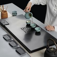 源韵 天然整块乌金石茶盘 小大号黑金石茶台茶海 排水式功夫茶具