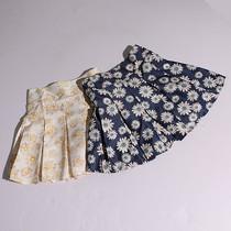 夏季新品女装百搭印花A字仿走光后带拉链小清新半身裙5X