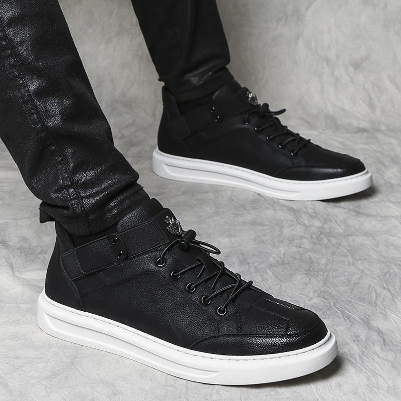 高帮鞋男新款嘻哈板鞋男韩版潮青年内增高英伦男鞋休闲中帮板鞋男