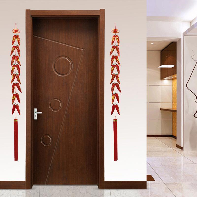 中国结鱼挂件红辣椒串客厅玄关装饰花生福字钱袋平安过年新房小号