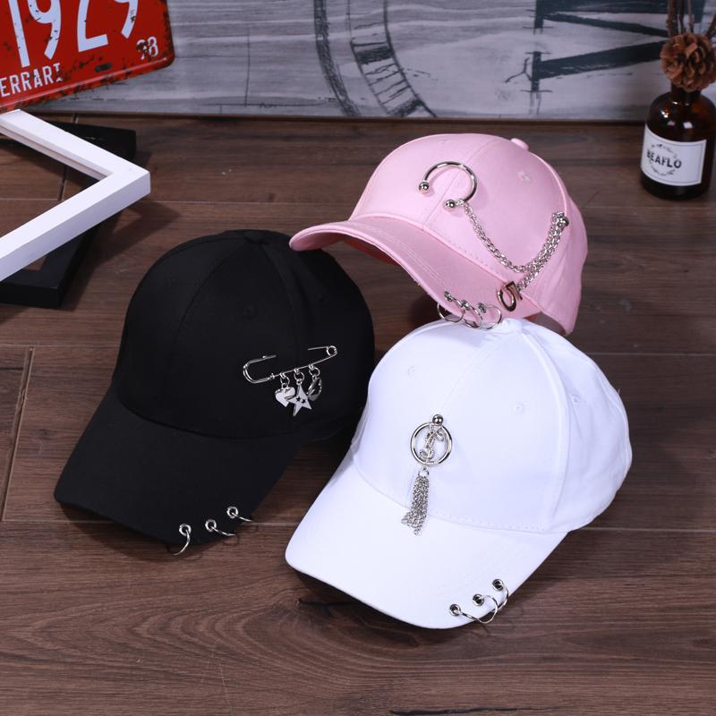 黑色潮男帽子女夏韩版时尚遮阳棒球帽学生带环防晒白色百搭鸭舌帽
