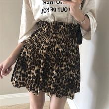 Korean elastic waist leopard pattern high waist pleated half-length skirt Chiffon suit short skirt summer women anti-light new style
