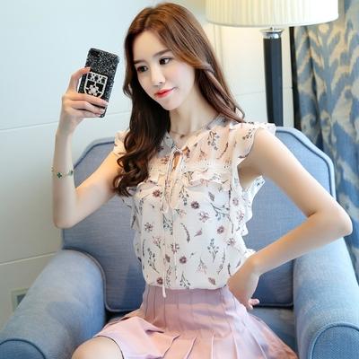 短袖飘逸雪纺衫女2018夏新款韩版系带遮肚子显瘦碎花甜美上衣超仙