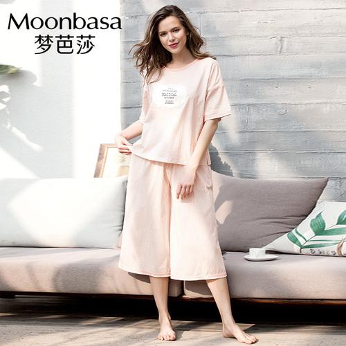 梦芭莎夏季清爽条纹睡衣新款女士棉质圆领短袖中长裤家居服套装