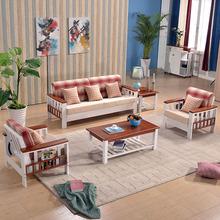 实木沙发橡木白色田园地中海沙发北欧木架折叠推拉沙发床客厅家具