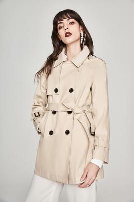 2018新秋冬款女王范双排扣系带收腰英伦风帅气中长款风衣外套女生