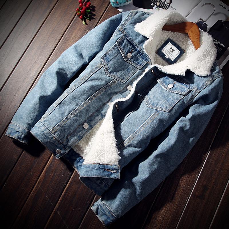 冬季加绒牛仔外套男修身加厚夹克仿羊羔毛青年棉衣棉服秋男上衣潮图片