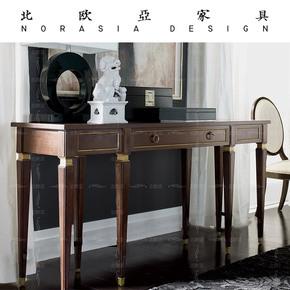 北欧亚美式实木书桌书房卧室家用小书桌单人小型长条办公桌写字台
