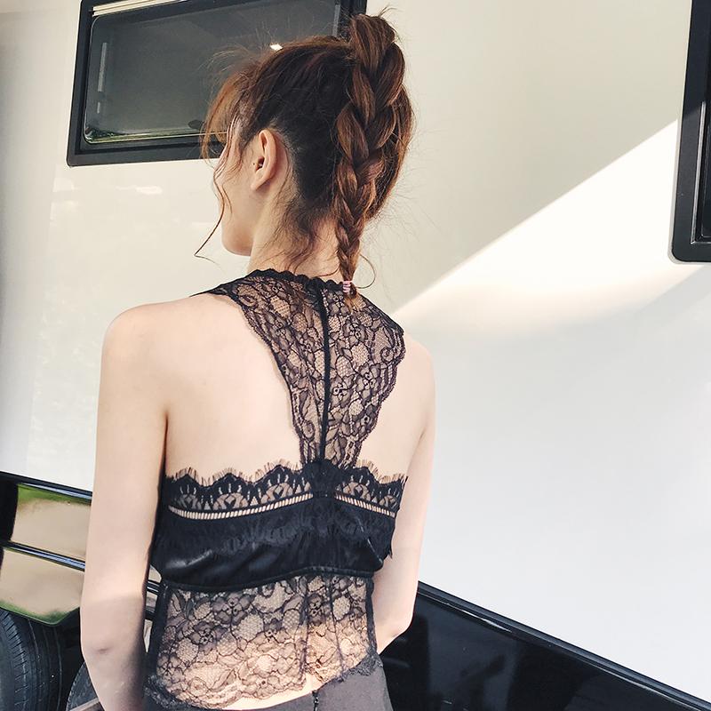 蜜桃盒子性感深V蕾丝背心 显胸小内衣 可外穿时尚打底仿真丝吊带