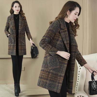 格子毛呢外套女2018秋冬新款时尚韩版流行中长款气质羊毛呢子大衣