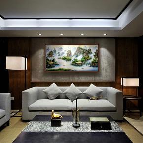 画家乡 新中式纯手绘风景油画中国东北刀画山水画客厅酒店装饰画