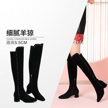 骆驼女鞋 秋冬款 羊反绒时尚街拍摩登铆钉靴子高跟长筒女靴