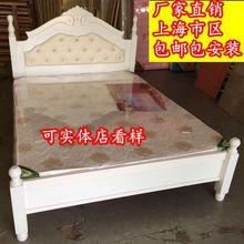 实木床五尺松木架子床 单双人床 六尺白床带软靠 上海包邮包安装