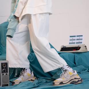 NOCAO 2019春夏白色复古宽松运动束脚裤男女抽绳滑板休闲裤情侣款