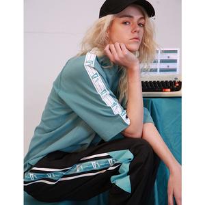 NOCAO 2018夏季白色复古串标短袖t恤男女嘻哈街舞国潮牌ins情侣款