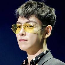 韩国GD权志龙TOP同款太阳镜女透明镜片黄色夜视眼镜飞行毡蛤蟆镜