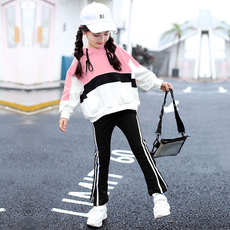 女童春装2019新款洋气时髦套装小女孩运动中大童儿童两件套潮童装