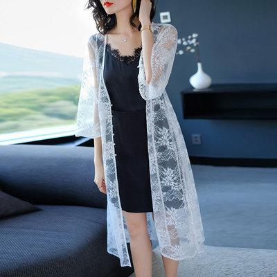蕾丝防晒衣女超薄夏天披风中长款开衫薄纱外套宽松时尚长外搭披肩