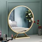 北欧化妆镜铁艺梳妆镜台式桌面 ins网红镜子家用卧室圆形壁挂镜