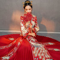 Show Wo clothing bride dragon and phoenix wedding dress 2018 new Chinese wedding toast clothing ancient wedding dress out of the pavilion