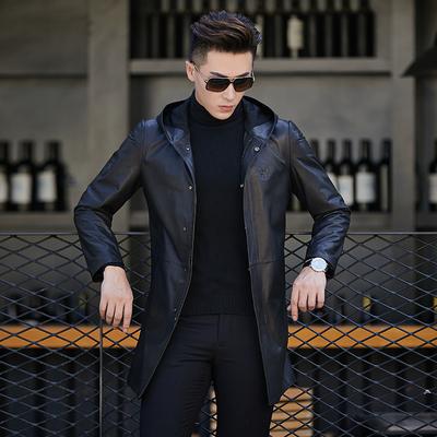 雅仕洛真皮皮衣男士 绵羊皮外套夹克 潮流连帽风衣中长款修身皮衣