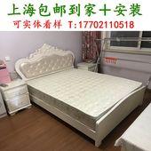 实木床带软靠 欧式 白床 可升降架子床 板式床 五尺六尺大床