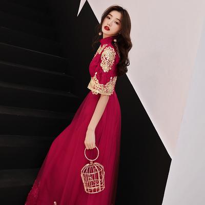 敬酒服新娘秋季2018结婚新款长款显瘦红色中国风旗袍回门晚礼服女